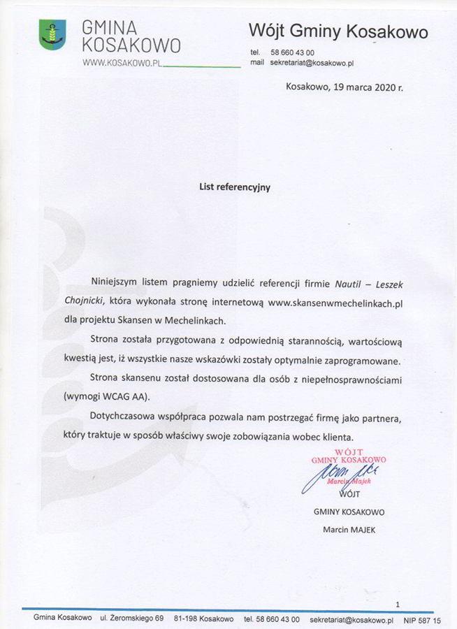 Ilustracja przedstawia referencje Wójta Gminy Kosakowo, przekazane po ukończeniu usługi stworzenia strony internetowej.