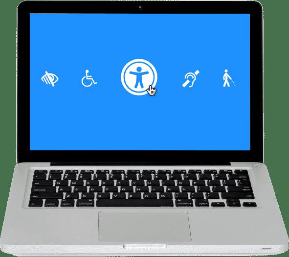 ilustracja przedstawia laptop na którego ekranie znajduje się symbol osoby niepełnosprawnej, poruszającej się na wózku