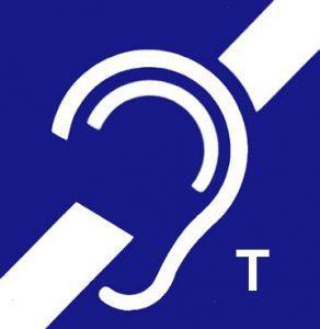 Grafika przedstawia logo pętli indukcyjnej tj. Ucho z znaczkiem T z dołu loga