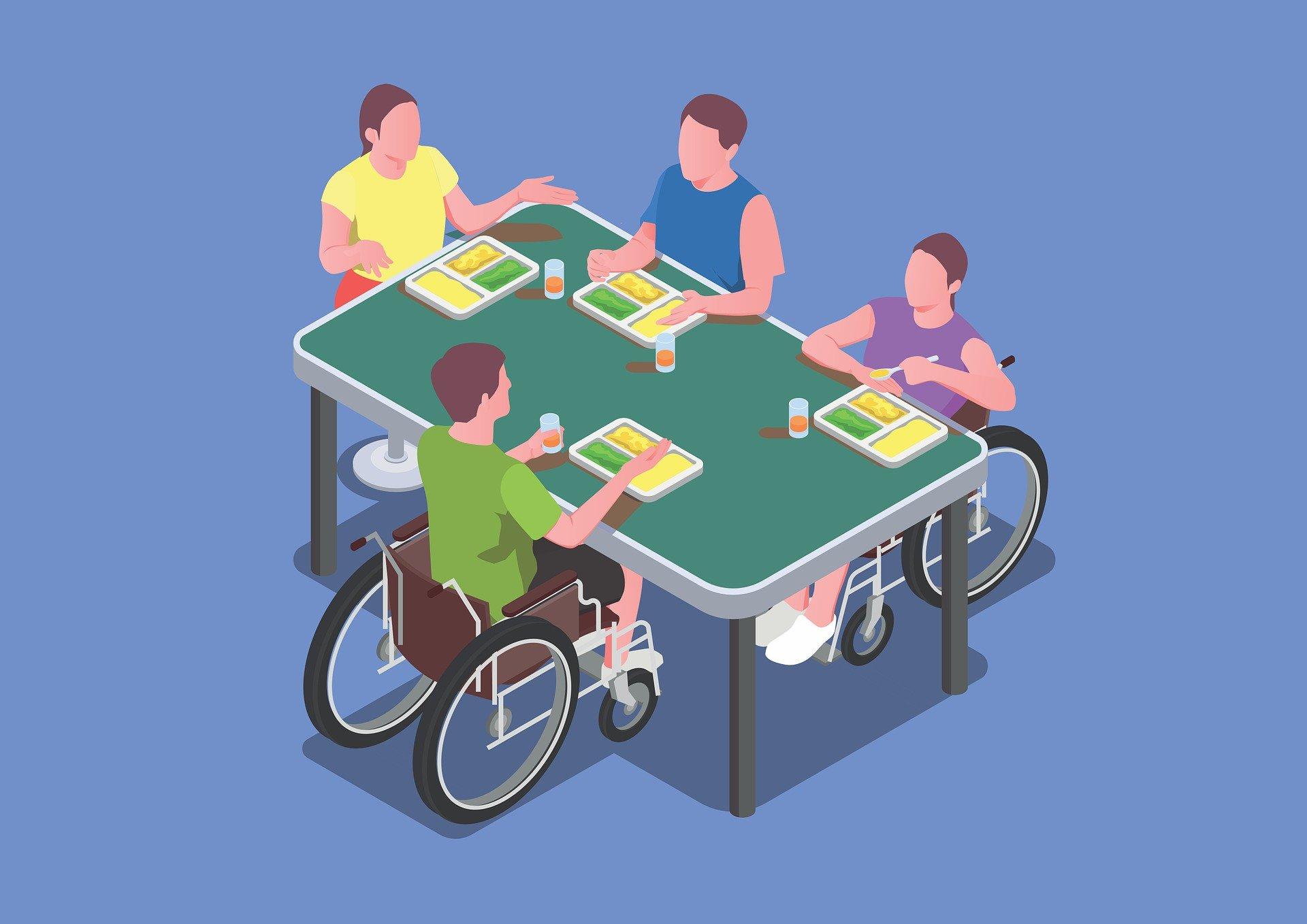 Na ilutracji osoby niepełnosprawne spożywający posiłek.